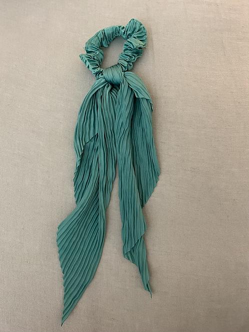 Lenço/elástico para cabelo plissado verde