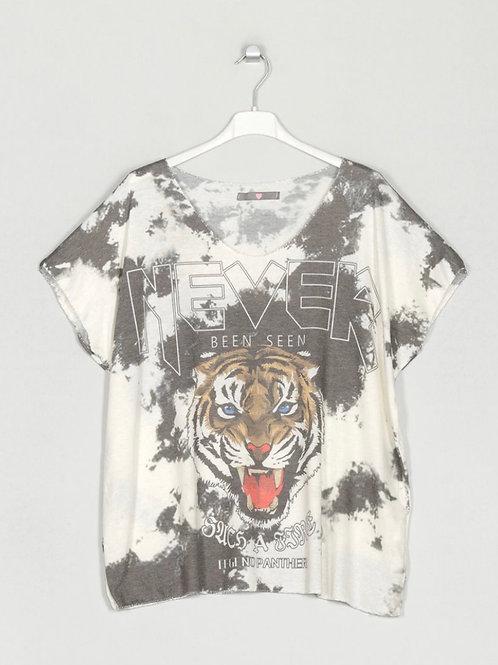 Camisola de malha fininha tigre cinza