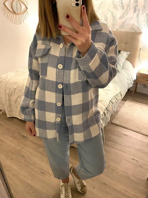 Casaco/camisa xadrez azul/cru