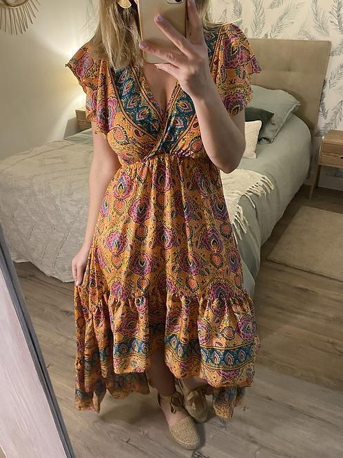 Vestido seda assimétrico salmão/petróleo