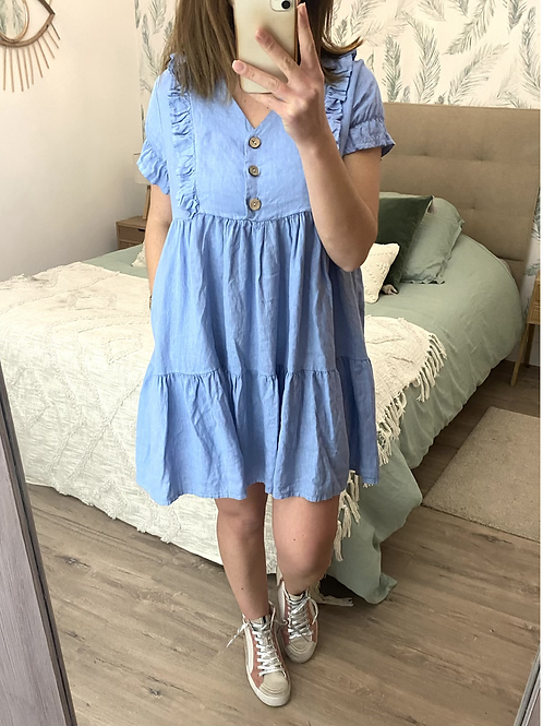 Vestido linho azul c/botões
