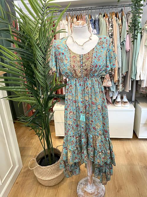 Vestido seda assimétrico turquesa