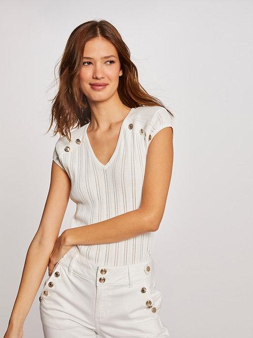 T-shirt canelada com botões branco Morgan