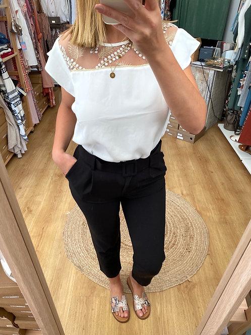 Blusa bordado ouro/branco