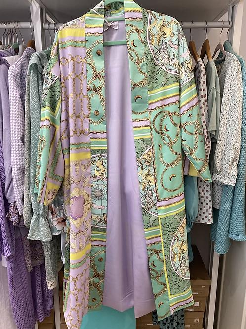 Kimono cetim estampa verde