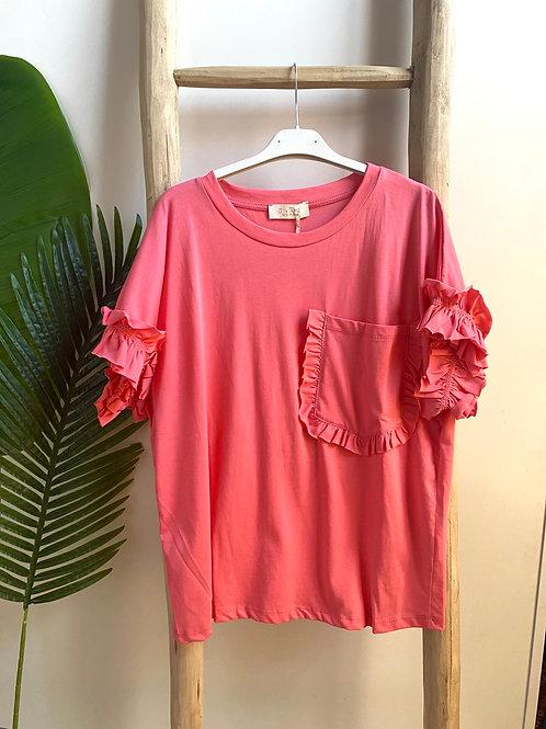 T-shirt com bolso rosa