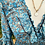 Thumbnail: Vestido seda manga boca de sino turquesa