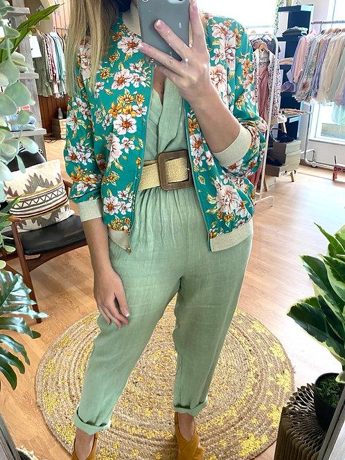 Bomber jacket flores verde