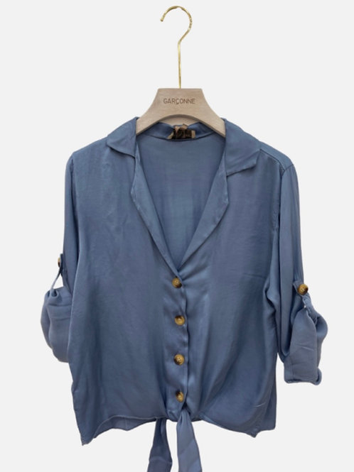 Blusa seda laçada azul
