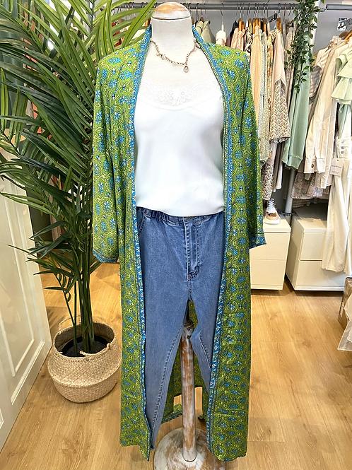 Kimono comprido seda verde/azul