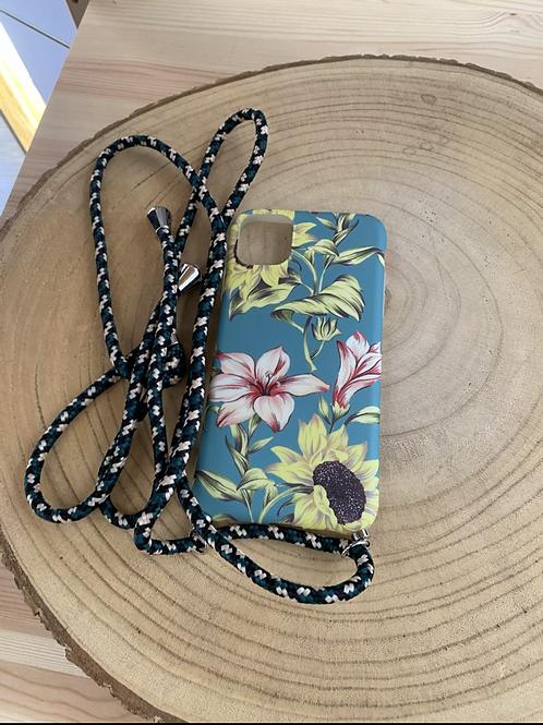 """Capa de telemóvel Iphone XR/10/11 6,1"""" estampa flores turquesa"""