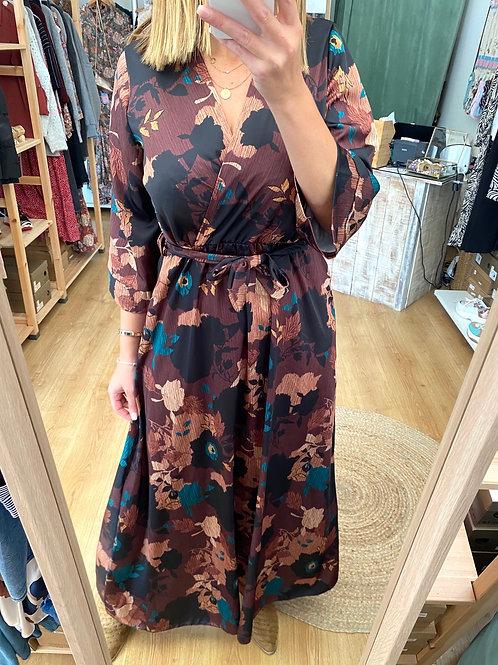 Vestido comprido floral marron