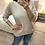 Thumbnail: Camisola ampla decote V beje