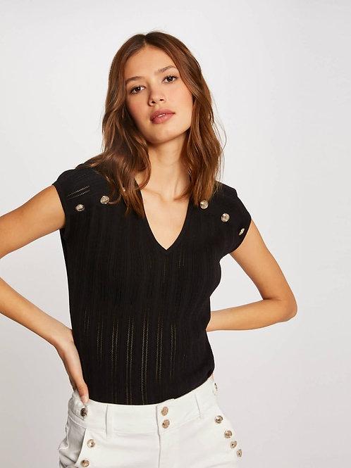 T-shirt canelada com botões preto Morgan