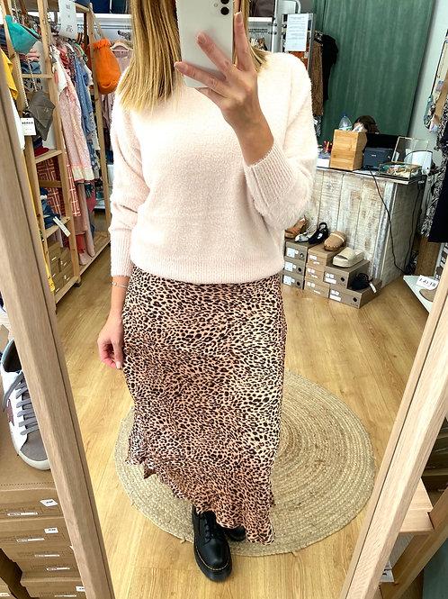 Saia assimétrica leopardo rosa