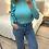 Thumbnail: Camisola canelada com folhos turquesa