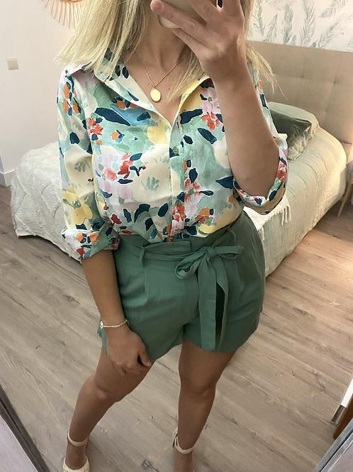Camisa estampada verde/amarelo