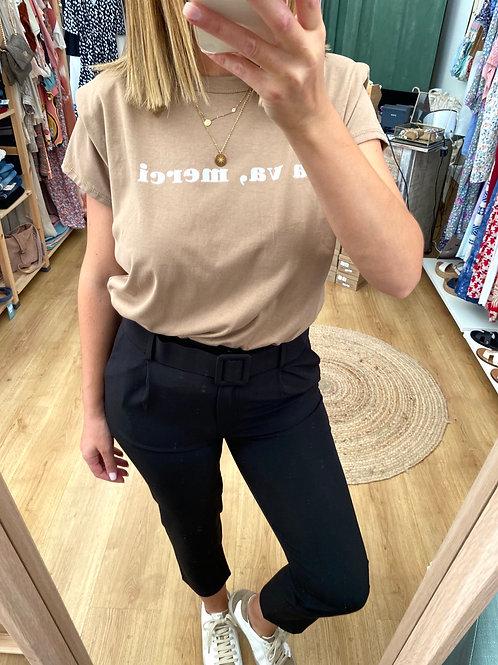 T-shirt ombreiras merci beje