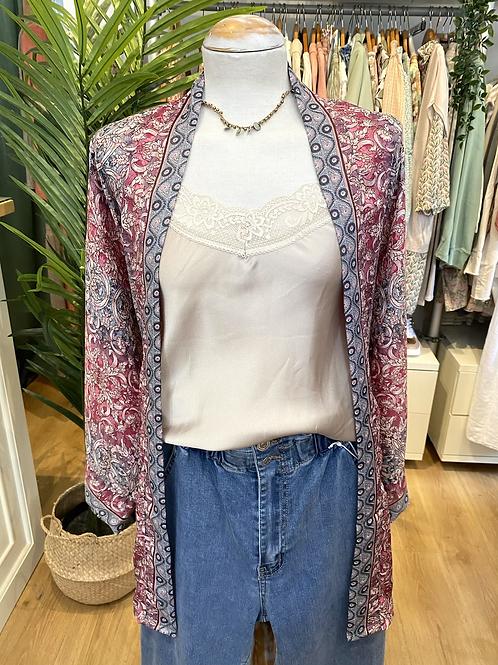 Kimono seda cinza/rosa