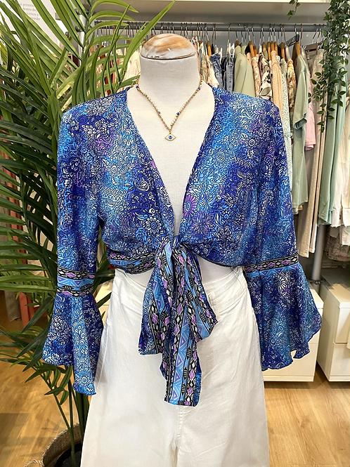 Blusa bolero seda azulão