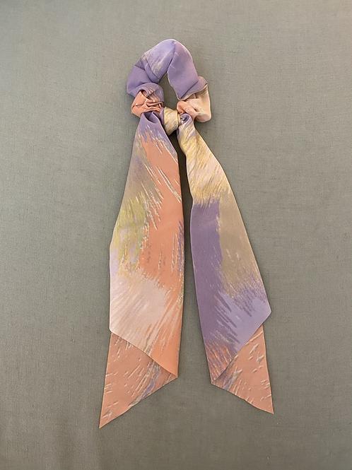 Lenço/elástico para cabelo lilás/coral