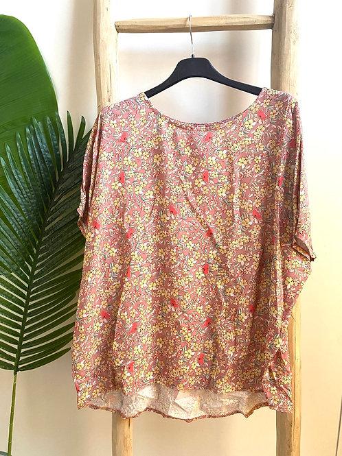 Blusa oversize florzinhas rosa velho