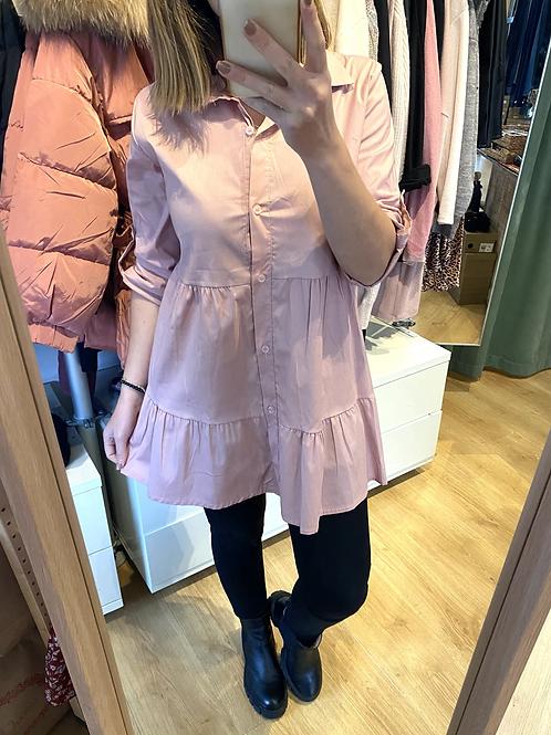Vestido/camisa folhos rosa