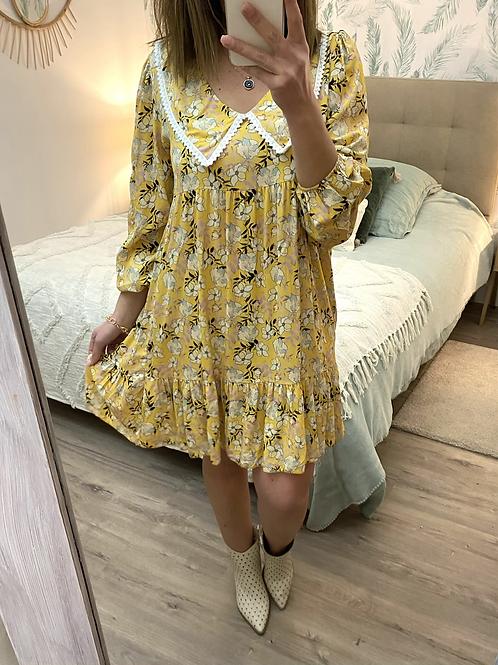 Vestido estampado golinha amarelo
