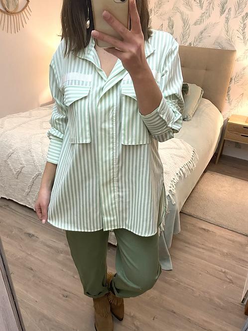 Camisa túnica riscas verdes
