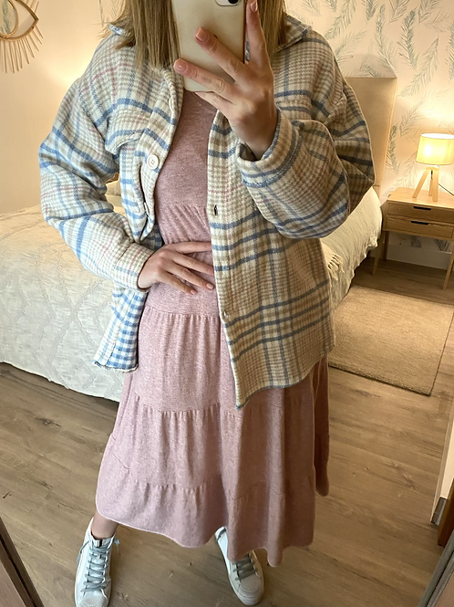 Casaco/camisa xadrez beje/azul/rosa