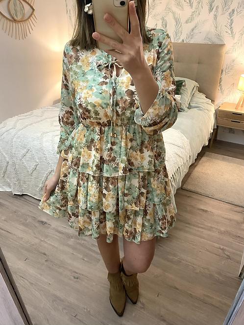 Vestido estampado floral verde