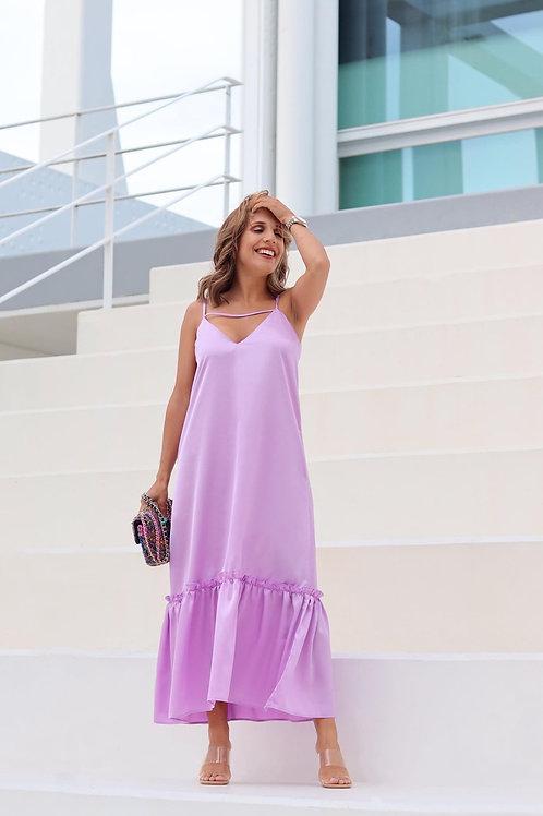 Vestido maxi seta lilás Nakuro