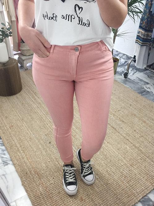 Calças cintura subida rosa