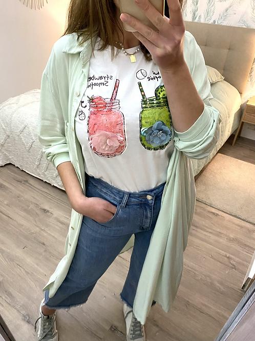 Vestido/camisa com bolso verde