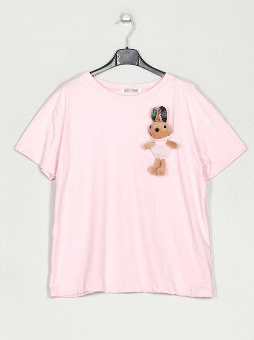 T-shirt peluche no bolso rosa