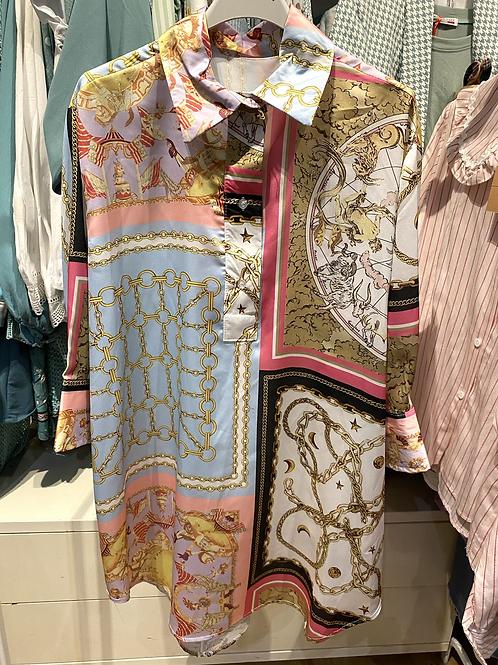 Túnica/vestido cetim estampa rosa