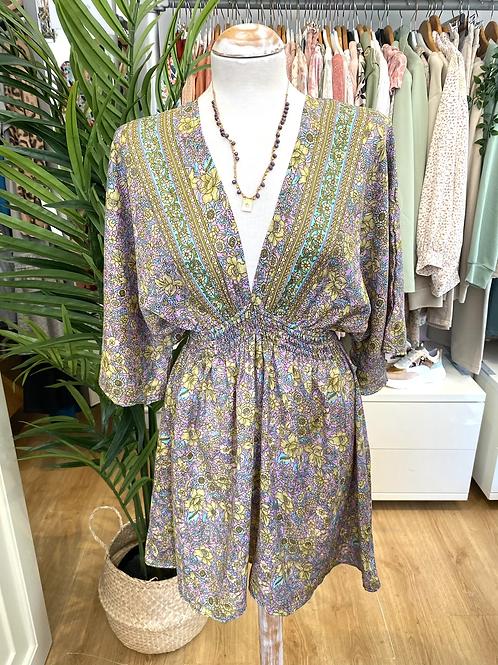 Vestido estampado lilás/verde