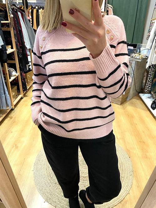 Camisola riscas rosa