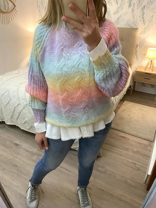 Camisola de malha arco-íris