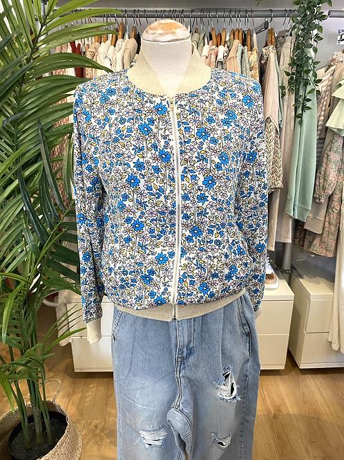 Bomber jacket flores azul