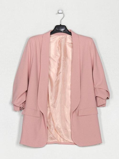 Blazer efeito manga arregaçada rosa