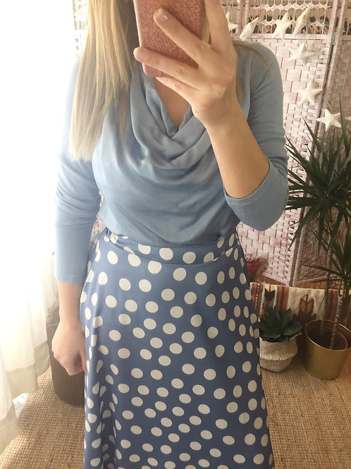 Blusa drapeada azul