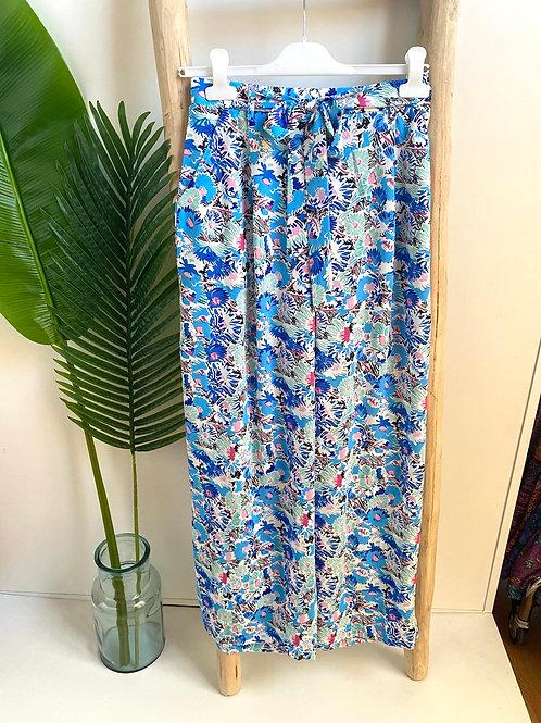 Calça pantalona flores azul/menta