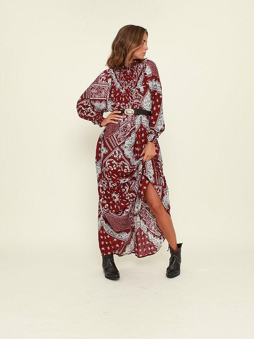 Vestido comprido bandana grená Vintage Bazaar