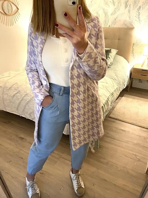 Casaco padrão Vichy lilás