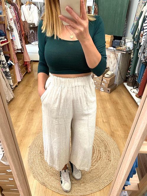 Camisola curta lisa verde