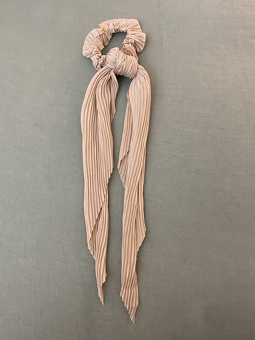 Lenço/elástico para cabelo plissado beje