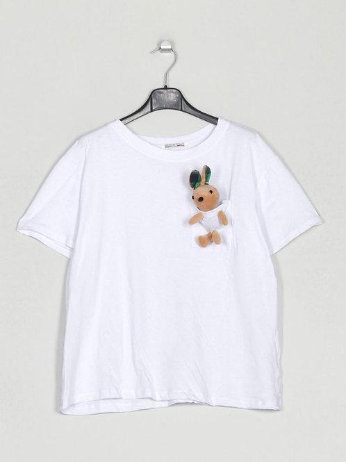 T-shirt peluche no bolso branco