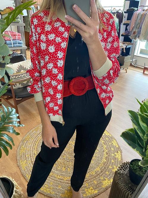 Bomber jacket flores vermelho
