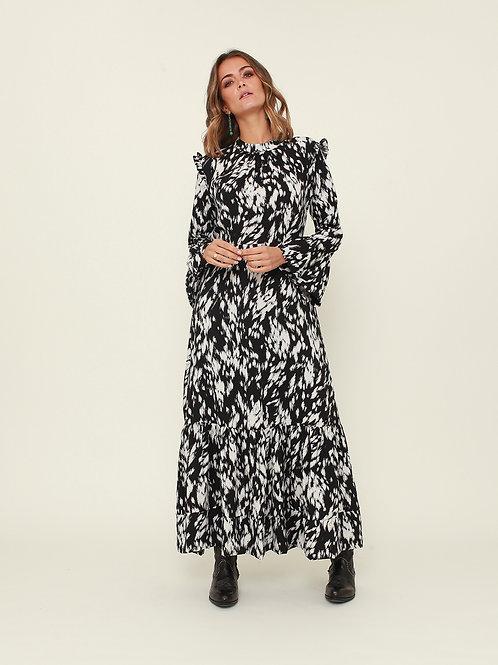 Vestido comprido abstracto preto Vintage Bazaar